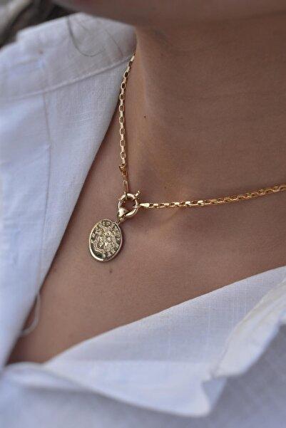 Aydın Gold Kadın 14 Ayar Altın Gemici Kilitli Madalyon Kolye
