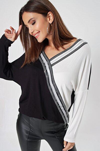 By Saygı Kadın Siyah Taş Şerit Aksesuarlı Yarasa Kol Çilek Bluz S-21K3250004