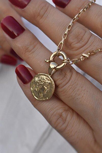 Aydın Gold Kadın Sarı 14 Ayar Altın Gemici Kilitli Madalyon Kolye