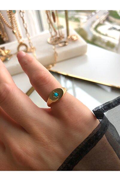 MİSSHİNG Kadın Gold Mavi Taş Serçe Parmak Ayarlanabilir Yüzük