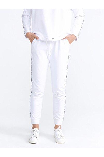Xint Kadın Beyaz Pamuklu Rahat Kesim Sweat Pantolon