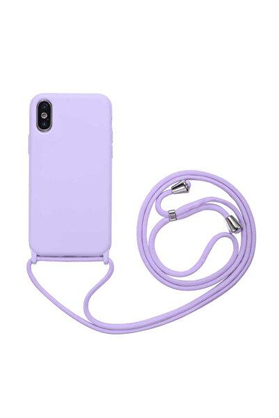 Fibaks Apple Iphone Xs Max Kılıf Ipli Boyun Askılı Içi Kadife Lansman Yumuşak Silikon