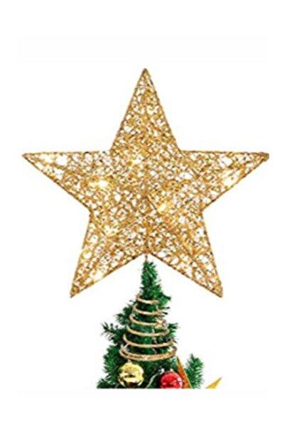 LEDREYON Led Işıklı Yılbaşı Ağacı Tepe Yıldızı Çam Ağacı Yılbaşı Süsleri Gold Yıldız Led Işık