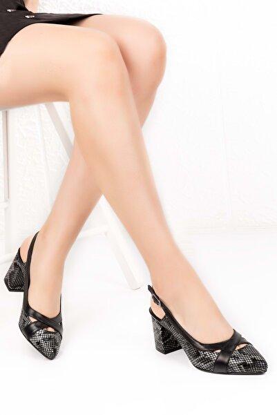 Gondol Hakiki Deri Yılan Desen Ayrıntılı Topuklu Ayakkabı Şhn.0738 - Siyah - 40