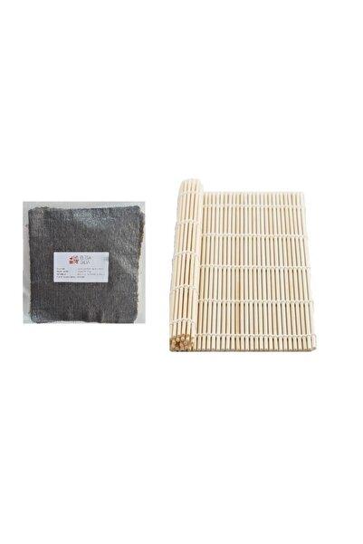 Elisa Gıda Organik Bambu Sushi Mat + Doğal Nori Sushi Yosunu