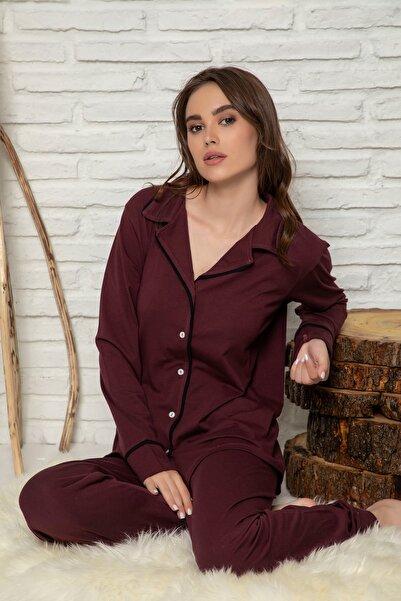 ELİTOL Kadın Mürdüm Düğmeli Uzun Kol Pijama Takımı