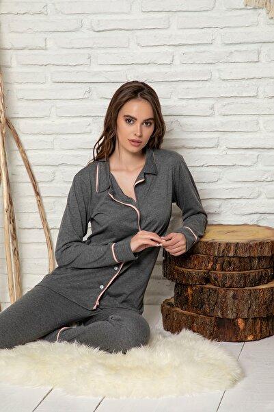 ELİTOL Kadın Füme Uzun Kol Düğmeli Pijama Takımı