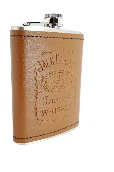 Güneş Jack Daniel Çelik 8 Oz Deri Kaplı 240 Ml Içki Matarası Dp02tb