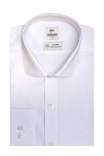 İgs Erkek Beyaz Slım Fıt / Dar Kalıp Std Gömlek