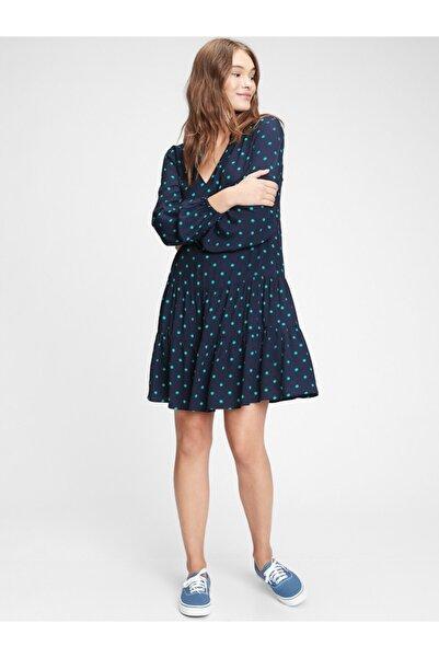 GAP Kadın Lacivert Desenli Mini Elbise