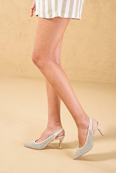 Louis Cardy Kadın Bej Mocca Hakiki Süet Topuklu Ayakkabı