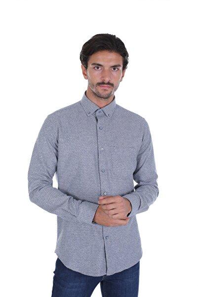 Diandor Erkek Gri Düz Renk Oduncu Gömlek 2022007