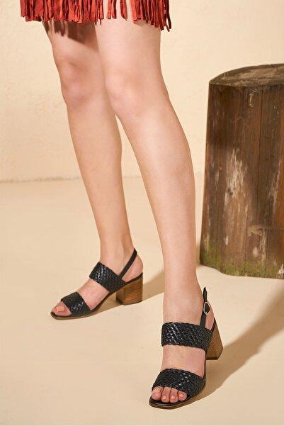 Louis Cardy Kadın Siyah Mary Hakiki Deri Örgü Sandalet