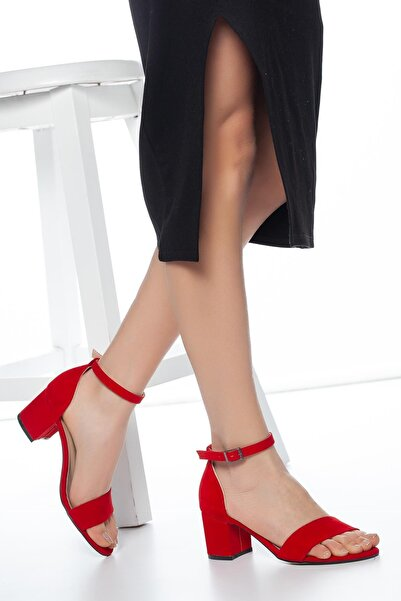 MUGGO Kadın Kırmızı Klasik Topuklu Ayakkabı  W708