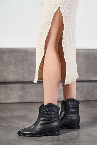Louis Cardy Kadın Siyah Concus Hakiki Deri Gizli Topuk Bot