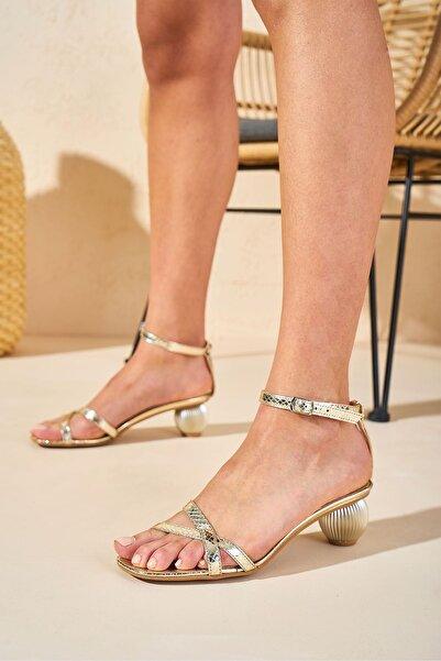Louis Cardy Kadın Gold Looter Dore Hakiki Deri Topuklu Ayakkabı