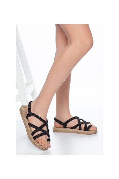 MUGGO Kadın Siyah Hasır Sandalet Rymw614