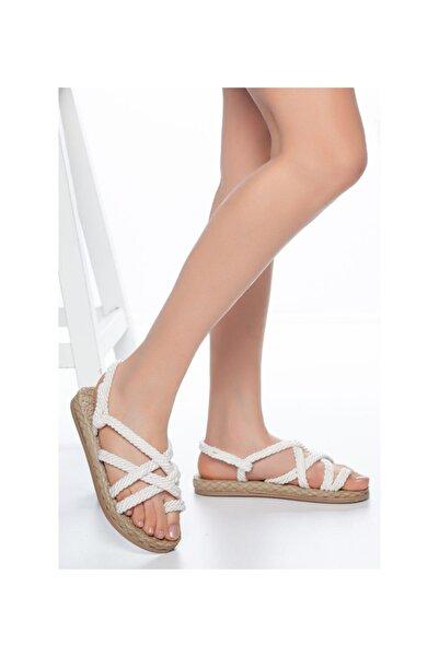 MUGGO Kadın Beyaz Hasır Sandalet