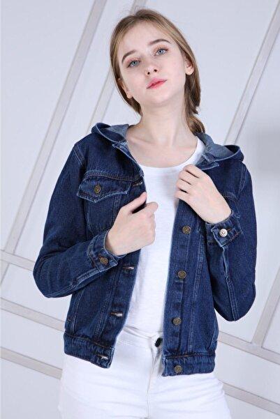 ECYM FASHION Kadın Mavi Kot Ceket X10101