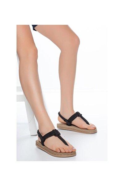 MUGGO Kadın Siyah Hasır Sandalet