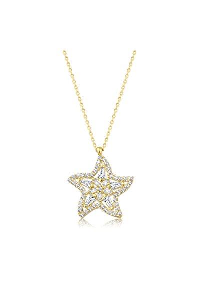 Lizay Pırlanta Altın Baget Taşlı Yıldız Kolye