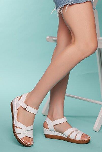 MUGGO Kadın Beyaz Düz Sandalet