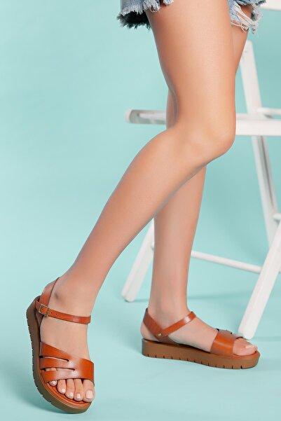 MUGGO Kadın Kahverengi Hakiki Deri Sandalet
