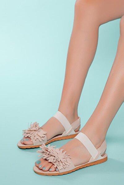 MUGGO Kadın Bej Püskül Sandalet