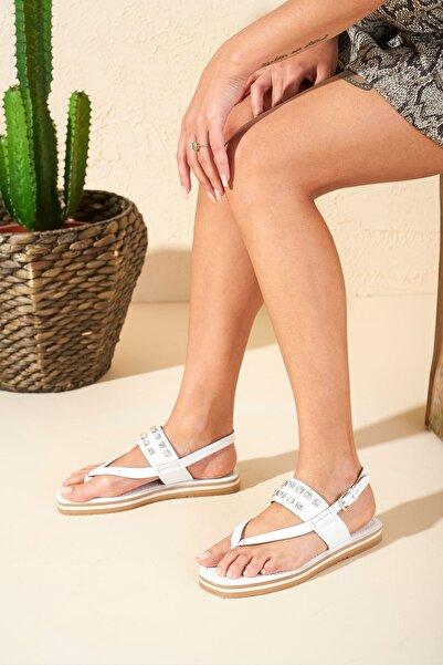 Louis Cardy Kadın Beyaz Roco  Hakiki Deri Taşlı Sandalet
