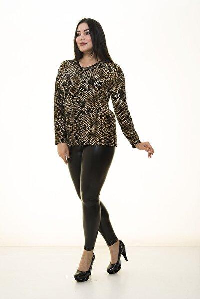 Modayız Kadın Kahverengi Desenli Esnek Bluz 17b-1400