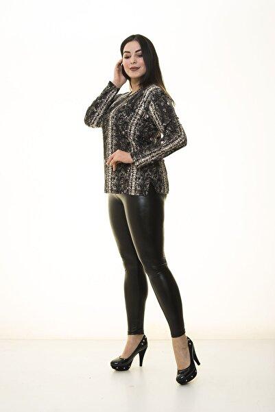 Modayız Kadın Kahverengi Yılan Derisi Desenli Bluz 17b-1399