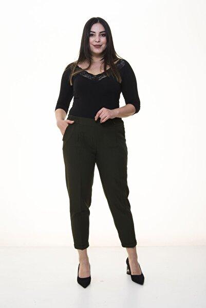 Modayız Kadın Haki Duble Paça Kumaş Pantolon 34c-1375