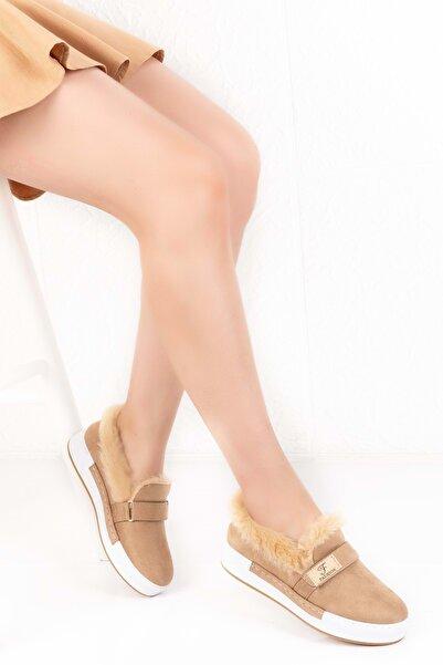 Gondol Içi Peluş Günlük Bağcıksız Ayakkabı Hsyn.90 - Camel - 36