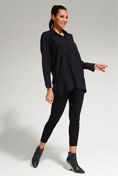 Batik Kadın Siyah Dkm Duz Casual Gömlek A1014