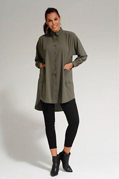 Batik Kadın Haki Dkm Duz Casual Gömlek A1012