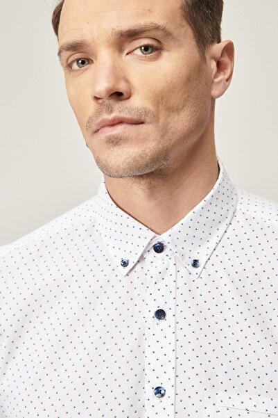 ALTINYILDIZ CLASSICS Tailored Slim Fit Düğmeli Yaka Baskılı Gömlek