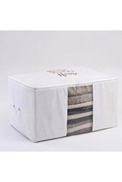 Büyük Boy Beyaz Renk,pvc Detaylı,baskılı Hurç // 64x41x35