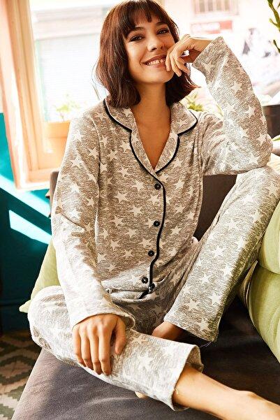 Olalook Kadın Gri Yıldızlı Siyah Biye Detaylı Pijama Takımı PJM-00000002