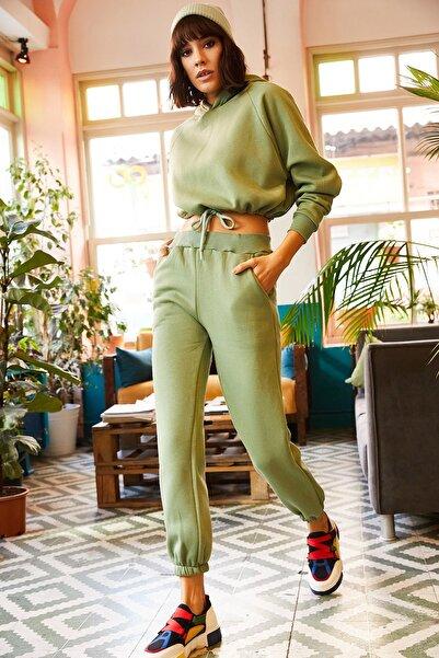 Olalook Kadın Mint Yeşili İçi Polarlı Alt Üst Eşofman Takımı ETKM-0000020