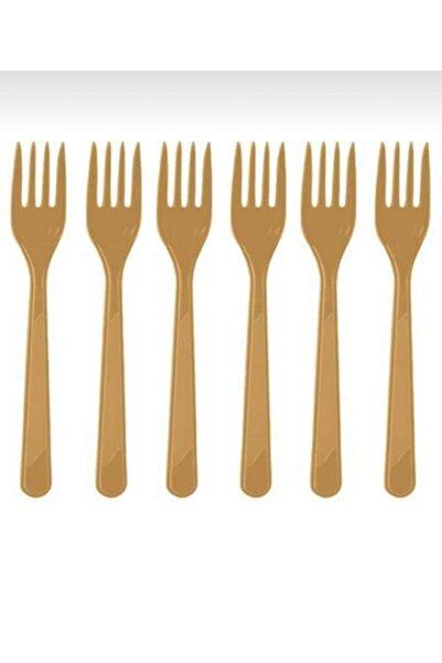 PARTİCİM SÜS EVİ Kullan At Gold Plastik Çatal 25 Adet