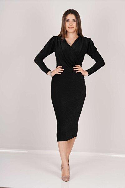 giyimmasalı Kadın Siyah Simli Kalem Elbise