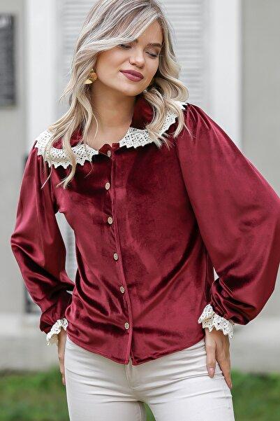 Chiccy Kadın Bordo Romantik Yakası Ve Kol Ucu Kopanaki Detaylı Düğmeli Velur Bluz C10010200BL95795