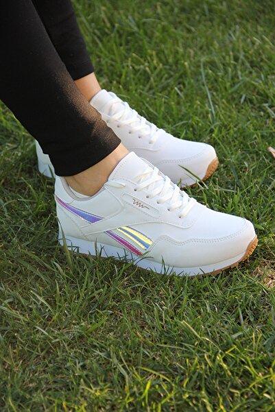Hotan Unisex Beyaz Hologram Spor Ayakkabı