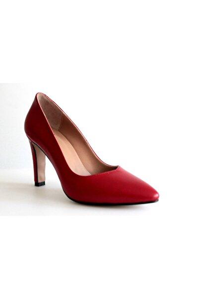 Beta Kadın Kırmızı Deri Topuklu Ayakkabı
