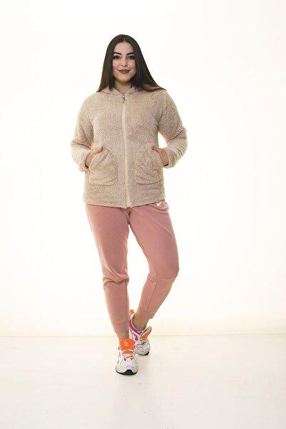 Modayız Kadın Kahverengi Peluş Cepli Sweatshirt 30y-1405