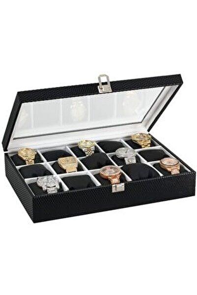 15 Li Diamond Siyah Deri Ahşap Üzeri Cam Saat Kutusu St15-20