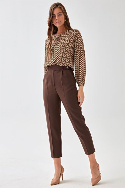 Chima Kadın Kahve Kemeri Dilli Pantolon K21PA035