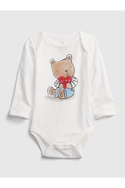 GAP Baby Erkek Bebek Beyaz Desenli Body