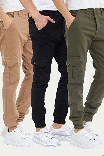 DAMGA JEANS Erkek Paçası Lastikli Kargo Cep Pantolon Çok Renkli