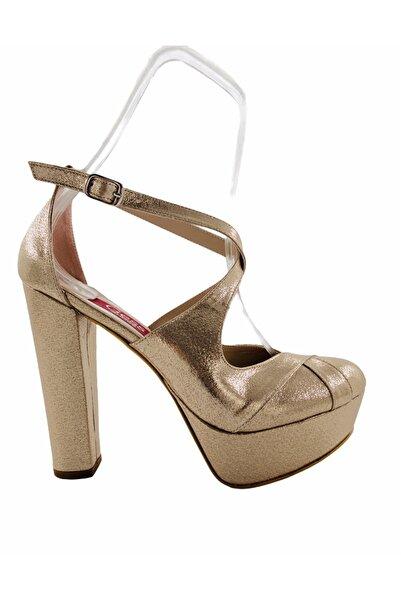 Gess Dore Altın Kalın Topuk Platformlu Çapraz Bantlı Abiye Ayakkabı
